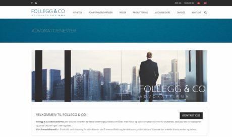 Advokatside for Follegg & CO – Design – SEO tjenester – Driftsavtale