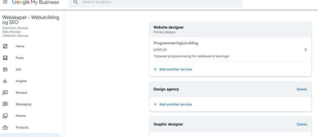Oppdatere firmadetaljer på Google