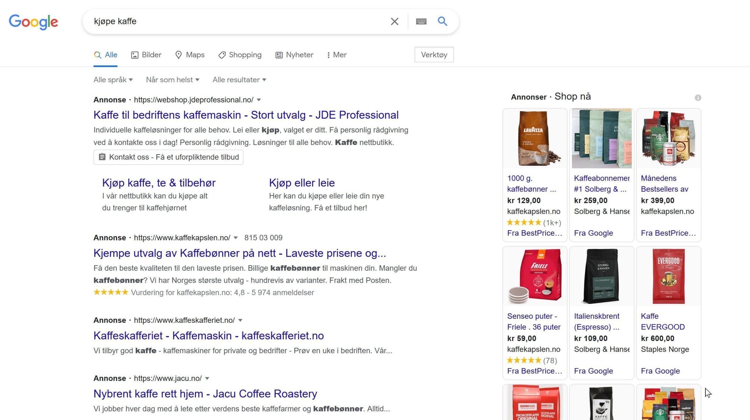 Google shopping annonser