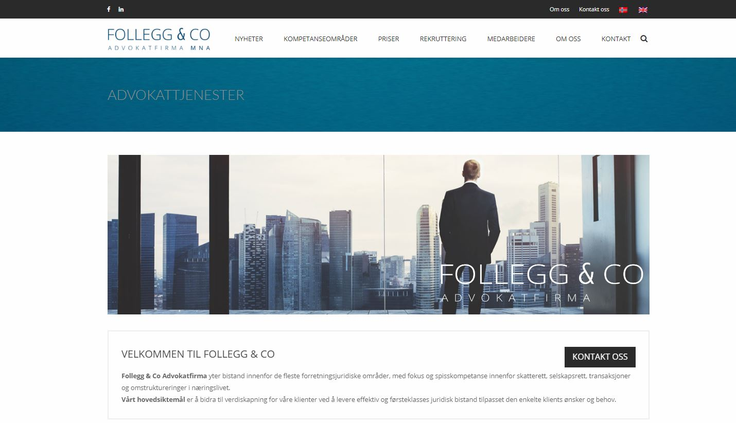 Advokatside for Follegg & CO - Design - SEO tjenester - Driftsavtale